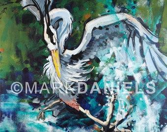 "Heron Kickin' It 16""x20"" giclee print on canvas"