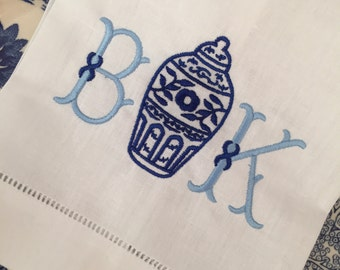 Ginger Jar Monogrammed Linen Tea Towel, Hostess Gift