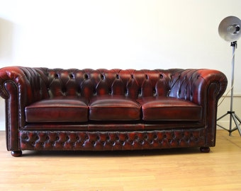 Leather Chesterfield Oxblood Vintage Sofa