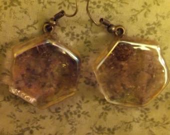 Hexagonal shaped  clear goldish glass disk earrings