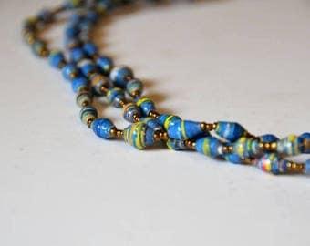 Zanzibar Beach Paper Beads Necklace from Africa, Hand-Made, Eco-Friendly