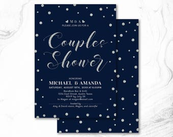 Couples Shower Invitation, Printable Couple Wedding Shower Invitation, Couples Shower Invite _ CPS17_07 Silver & Navy