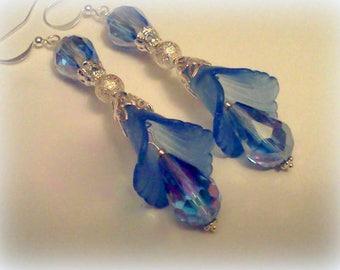 Handmade Earrings, Lucite Earrings, Flower Dangles,  Bridal Earrings, Blue Earrings, Flower Earrings, Dangle Earrings, Summer Earrings, Boho