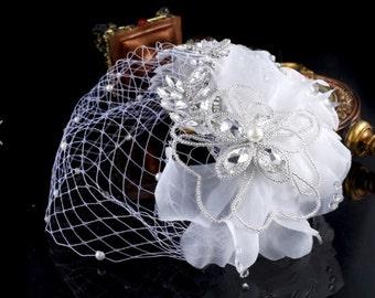White Handmade Rhinestones Flower Crystal Birdcage French Netting Bridal Veil