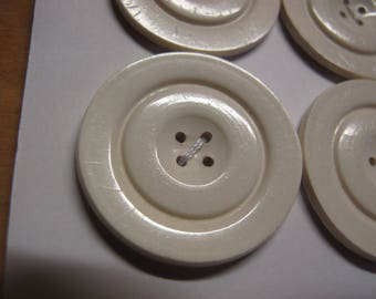 4 large white plastic art deco  1930 - 1940's buttons 32 mm diameter 020517/34