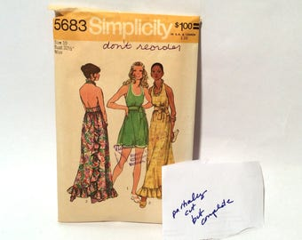 Vintage 1970s Simplicity 5683 Super Cute Halter and Wrap Sundress, Size 10