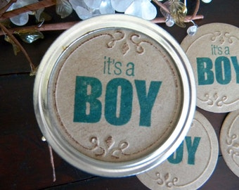 Baby Shower Mason Jar Labels, Lid Toppers, It's a Boy, Baby Boy Shower, Gift Jar Stickers, Set of 8