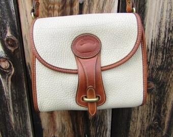"Dooney & Bourke ~ Essex Bag ~ Bone ~ Tan ~ Vintage ~ Recycled ~ Good Condition ~ Medium Size ~ 8"" X 8"" X 4"""