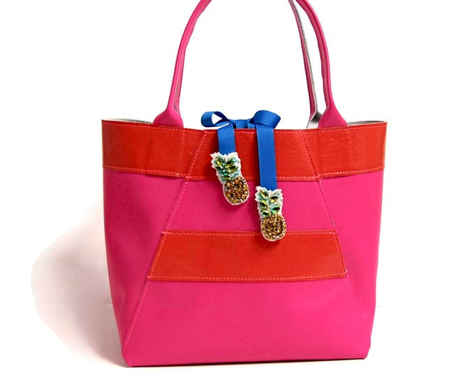 Featured listing image: Mini A-Line Tote Bag in Hot Pink and Orange Stripe with Pineapple Gem Tie