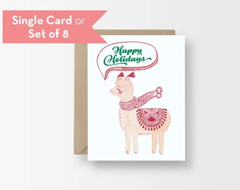 Cute Alpaca Christmas Card / Pretty Watercolor Holiday Card / Christmas Season's Greetings Happy Holidays / Cozy Alpaca Funny Holiday Card