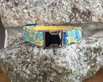 Spring Flowers Fabric Dog Collar Fully Lined XS-XL