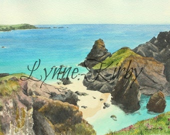 Kynance Cove Cornwall Mounted Print from a Lynne Kirby watercolour painting