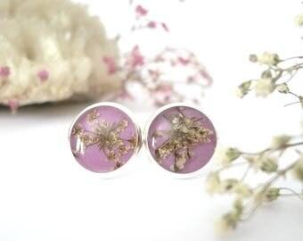 Botanical Resin Earrings - Real Flower Earrings - Botanical Earrings - Resin Flower Earrings - Nature Stud Earrings  - Queen Anne Jewelry