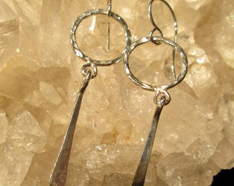 Handmade Sterling Silver Drop Earrings  Hammered & Polished