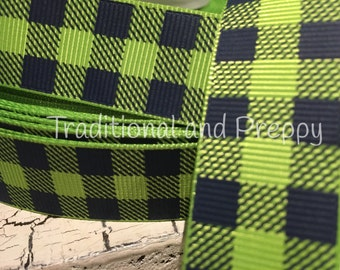 """7/8"""" preppy Navy and green Christmas Outdoor BUFFALO PLAID Grosgrain Ribbon sold by the yard"""