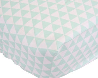 Mint Triangle Crib Sheet | Mint, White, and Triangle Fitted Crib Sheet | Aztec Inspired Baby Nursery | Gender Neutral baby Nursery