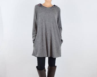 plaid hood and cuff brushed knit tunic S to XL