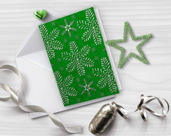 Green and silver Christmas card, Snowflakes greeting card, Printable greeting card, Vertical folded card, Instant download, GC024-12