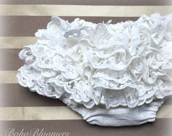White Lace Baby Bloomers Baby Clothes Bohemian Baby Shower Boho Bloomers Girls Bloomer Boho Baby Girl Gypsy Wedding Christening Diaper Cover
