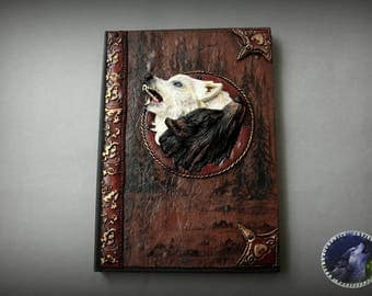 Two wolves polymer clay notebook journal cover