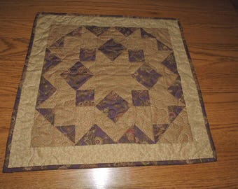 "Plum, Tan and Cream Small Quilted Table Topper or Candle Mat    19.5"" x 19.5"""