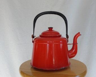 Vintage Red Enamelware Teapot