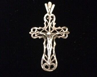 Vintage silver crucifix pendant