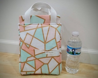 Pink & Mint Insulated Lunch Bag, Insulated Bag, Waterproof Bag