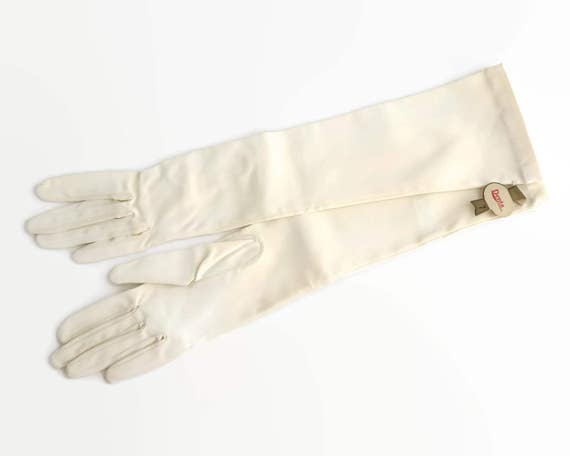 Long white gloves, elbow length ivory colored, plain with double stitched fingers, vintage dead stock, Dents, size 7, one way stretch, 1970s