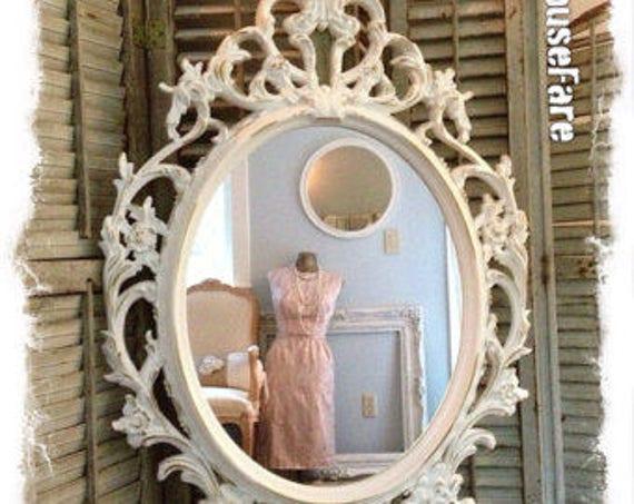 Oval Wall Mirror Baroque Ivory Shabby Chic Ornate Bathroom Nursery And Gold