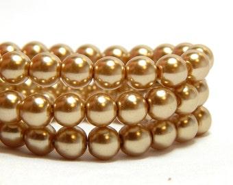 6mm Tan Glass Pearls, 6mm Khaki Beads, Champagne Beads, Light Brown Pearls,  Light Brown Glass Pearls, Khaki Glass Pearls, T-95C