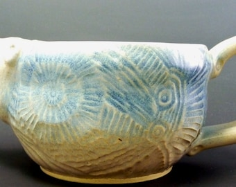 Shaving Scuttle, Wheel-Thrown and Incised Stoneware, Ivory White and Sky Blue Semi Matte