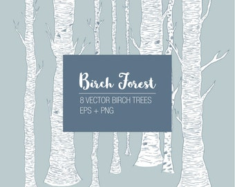 Birch Trees Clipart, Hand drawn, Design Elements, Birch forest, tree clip art, vector