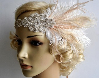 Champagne ivory1920's rhinestone feather flapper headband, Bridal Head Piece, Flapper, rhinestones Crystal ribbon bridal wedding Headband