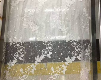 Embroidery silk fabric,crinkle silk chiffon lace fabric in off white,wedding dress fabric