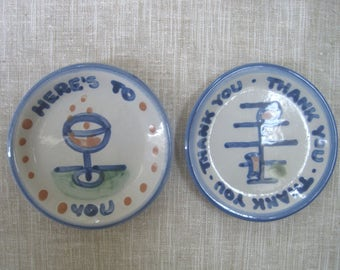 """2 M A Hadley Coasters Small Plates 4"""" """"Thank You, Thank You, Thank You"""" & """"Here's To You"""" Vintage Kentucky Pottery Stoneware USA"""