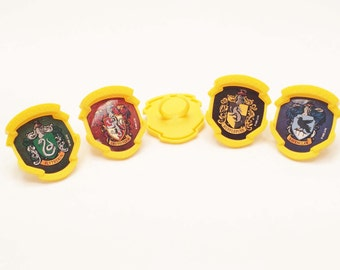 12 Harry Potter House Cupcake Rings Toppers Party Favors Gryffindor Slytherin Hufflepuff Ravenclaw