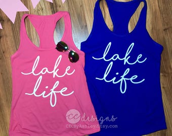Tank Top, Lake Life, lake trip ~ Racerback Tank top~ lake life ~ cute lake shirt lake trip  - soft - best seller - tank top- lake - tank top