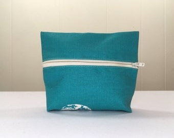 Zipper Pouch Bag, Unlined, Blue Butterfly, made from Upcycled Upholstery Fabric Samples