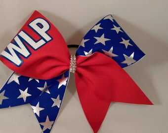 Cheer Bow Custom YOUR School and Mascot Team Bows by BlingItOnCheerBowz Red White Blue Silver Stars Chevron