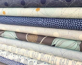 Fat Quarter Bundle of 12 Moda True Blue Fabrics by Zen Chic