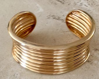 Sterling Silver Vermeil Wide Cuff Bracelet. Absolutely Gorgeous.