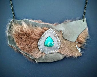SKY DUNE* Tribal Turquoise, Fur & Leather Bib Necklace