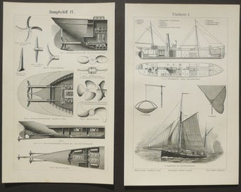1895 Lot of 2 antique prints of NAVIGATION. Antique Yacht. Antique Boats. Ships. Sailing Boats. 122 years old lithographs