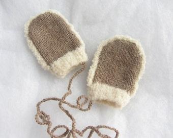 Hand knit alpaca baby mittens. Size 9-12 months.
