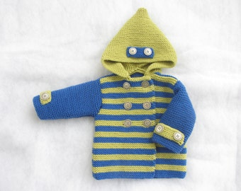 Hand knit pure merino baby coat with hood. Size 1-3 months.
