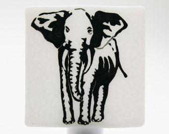 African Elephant Night Light Screen Printed on White Bullseye Fused Glass