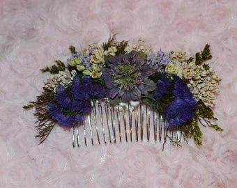 Hair comb, Flower comb, Dried flower comb, wedding hair accessory, wedding hair comb, Hair accessory, Custom Made to Order
