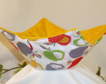 Microwave Bowl Cozy Set of 2, Apples Microwave Pot Holders, Pot Holders, Soup Cozy, Apples,  Red,  Green, Yellow