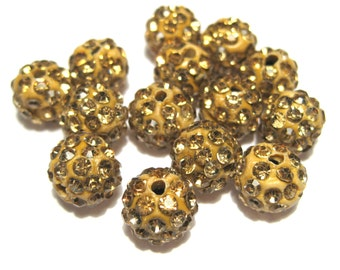 10pcs Yellow Polymer Clay Rhinestone Beads Pave Disco Ball Beads - Grade A 10mm